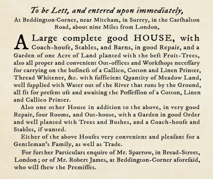 Facsimile of an advertisement in the General Evening Post, 1760