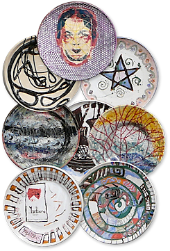 Decorative plates made in the creative workshops at Bethlem Royal Hospital