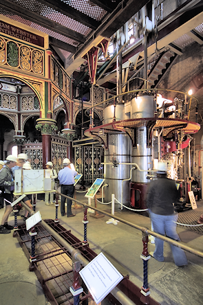 Hard-hatted visitors inspect the Prince Consort engine at Crossness
