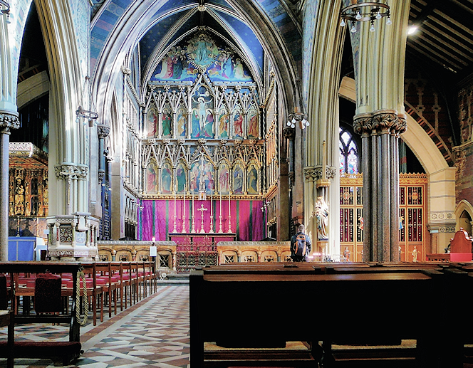 All Saints interior, looking from the rear towards the altar