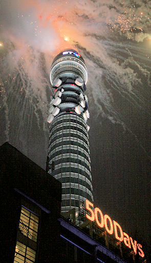 The BT Tower, seen during a firework display marking 500 days before the start of the 2012 Olympicss