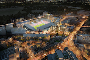 Developer's CGI vision of the Brentford community stadium and associated housing