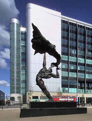 Stylish new office blocks and sculpture at the corner of Saffron Avenue and Nutmeg Lane