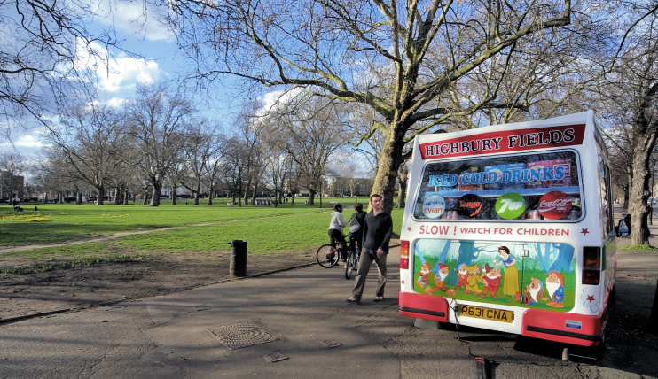 Highbury Fields in winter, with ice cream van