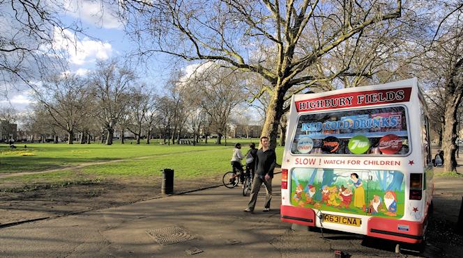 Highbury Fields in winter, with ice cream van