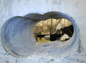 Hole drilled through the concrete wall of the vault at Hatton Garden Safe Deposit