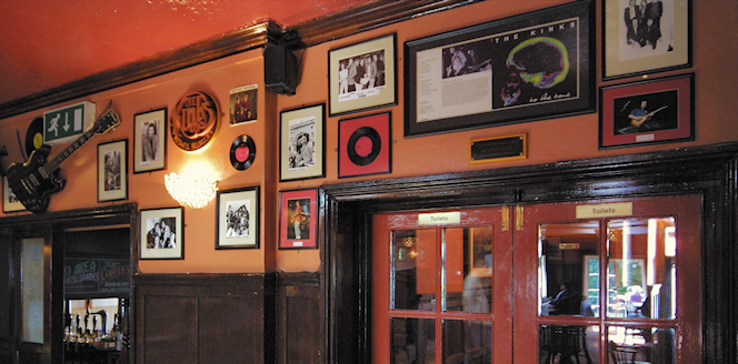 a wall of Kinks memorabilia at the Clissold Arms, Fortis Green