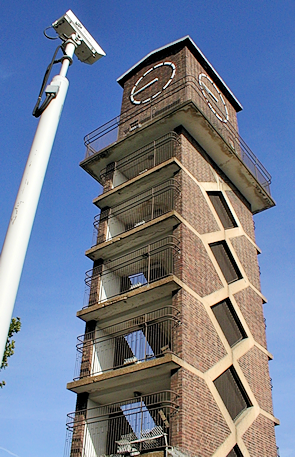 The Lansbury estate's curious clocktower-cum-watchtower on Chrisp Street