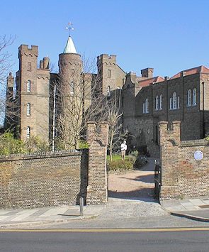 Vanbrugh Castle, seen from the road on a sunny winter's day