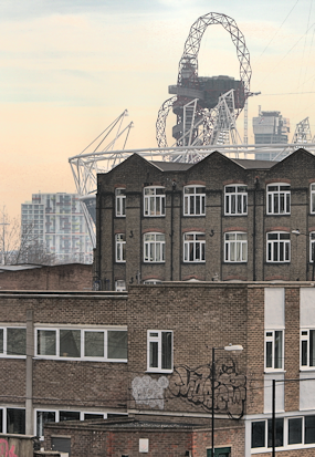 The Olympic stadium seen from Hackney Wick station in early 2012