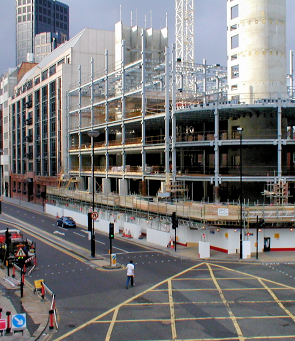 Aldersgate Street undergoing reconstruction, centred on the site of the former fire station