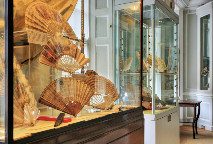 A display case in an upstairs room at the Fan Museum