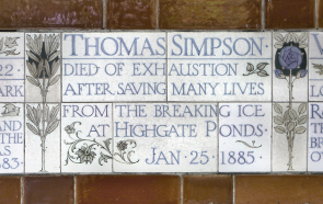 Commemorative tiling by GF Watts at Postman's Park