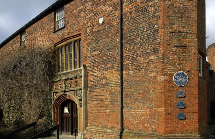 Tudor Hall, three-quarter angled view