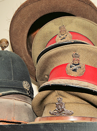 Vintage headwear, mostly military