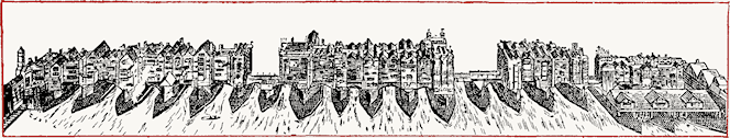 Old London Bridge, 1600, from a drawing in the Pepysian Library, Magdalene College, Cambridge