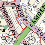 Streetmap detail showing boundary between Islington and Camden