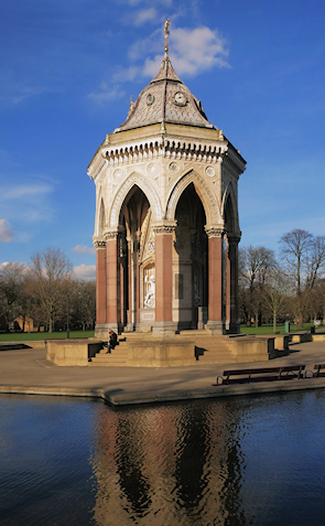 The Burdett Coutts drinking fountain is one of the few original structures surviving in Victoria Park