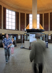 Inside the circular booking hall at Arnos Grove station