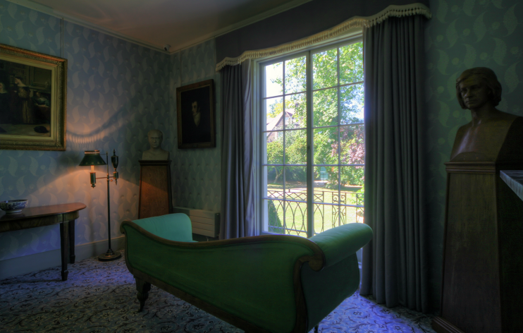 A sofa bed was made up for Keats in this room, so that he could look out of the window at the garden