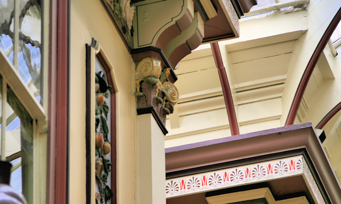 close-up of Leadenhall Market paintwork