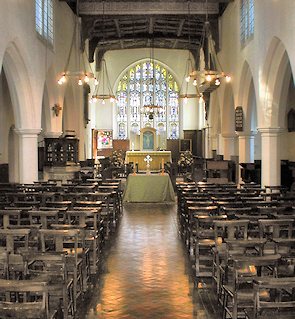 Inside Bow Church, looking down the aisle