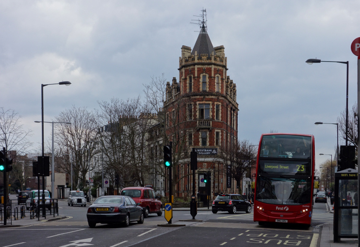 A tall, gothic-style residence on a corner site on Westbourne Grove