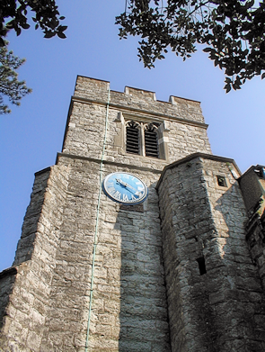 Looking up at the tower of the church of St Mary-at-Finchley