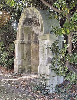 A London Bridge shelter in the residents' garden of Courtlands, East Sheen