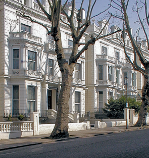 Grand stuccoed residences in Holland Park, seen in winter