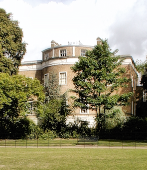 Manor House Library, seen from its extensive gardens on a dull day