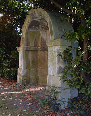 An Old London Bridge shelter in the residents' garden of Courtlands, East Sheen