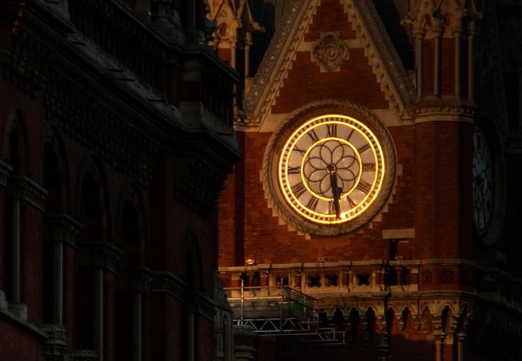 St Pancras station clockface close-up