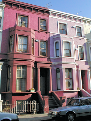 Houses in shades of pink on Lancaster Road, Westbourne Park