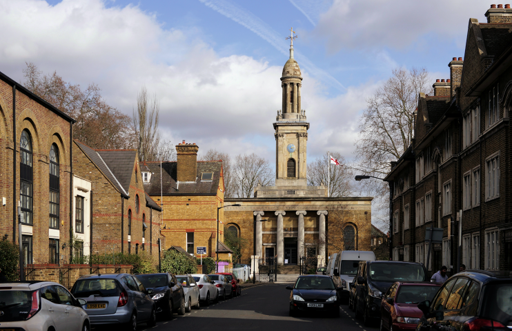 Liverpool Grove, Walworth, looking towards the church of St Peter