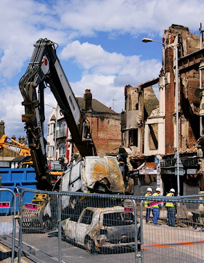 London Road, Broad Green. Following the riots and arson of 8th August 2011, 'Royal Mansions' are being demolished.