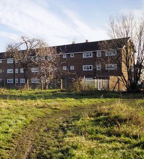 The rear of the Rush Green Gardens flats