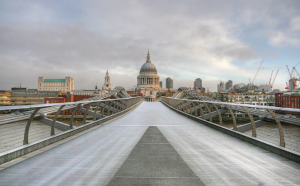 London Millennium Footbridge with a view towards St Paul's Cathedral, at dawn
