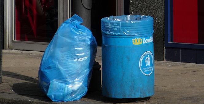 Blue borough bag and bin