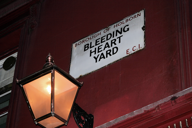 Bleeding Heart Yard street sign and lamp