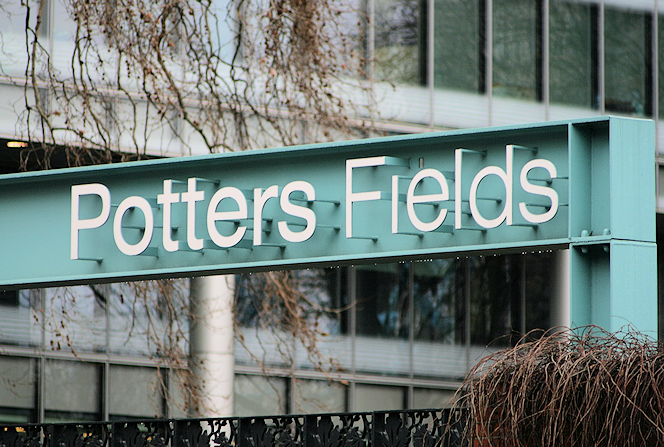 Potters Fields - sign at entrance from Tooley Street