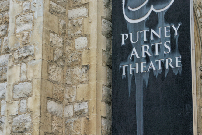 Putney Arts Theatre sign outside the former Union Church