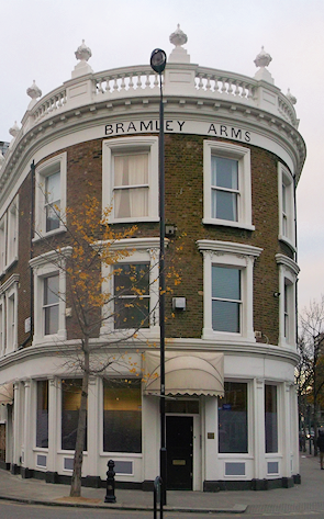 The former Bramley Arms, with a simplified map of the Latimer Road area on mouseover