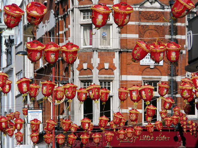 The corner of Lisle Street and Wardour Street at Chinese New Year