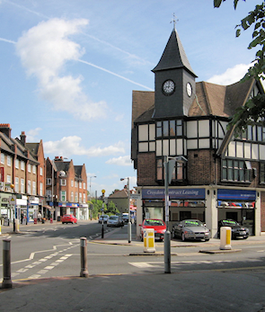Junction of Lower Addiscombe Road and Bingham Road, adapted from an original photograph, copyright Stephen Armstrong, made available under the Attribution-ShareAlike 2.0 Generic Licence