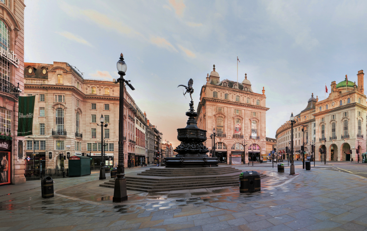 Piccadilly Circus at dawn, looking west
