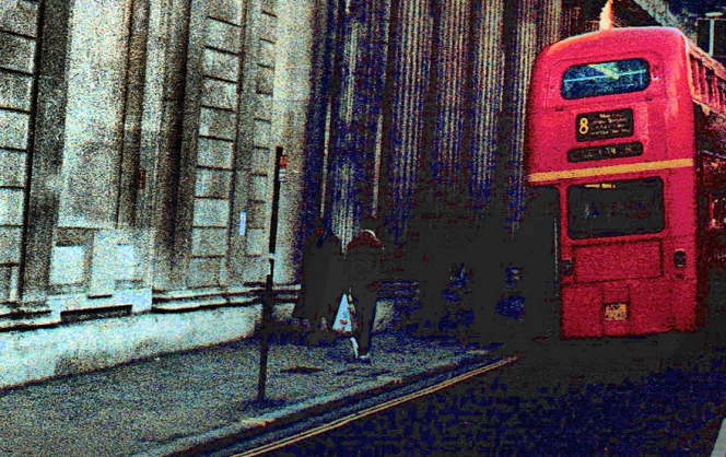 A Routemaster bus at the Bank of England