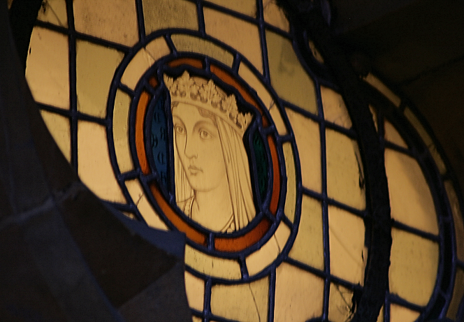 St Etheldreda in stained glass backlit
