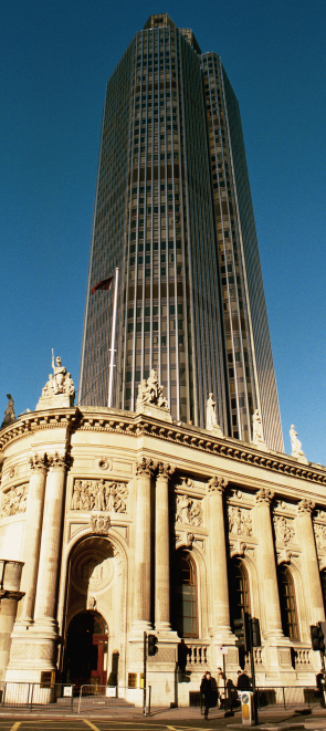 Tower 42, rising from behind Gibson Hall