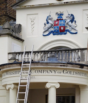 Goldsmiths Buildings – detail of the portico with the Goldsmiths Company coat of arms